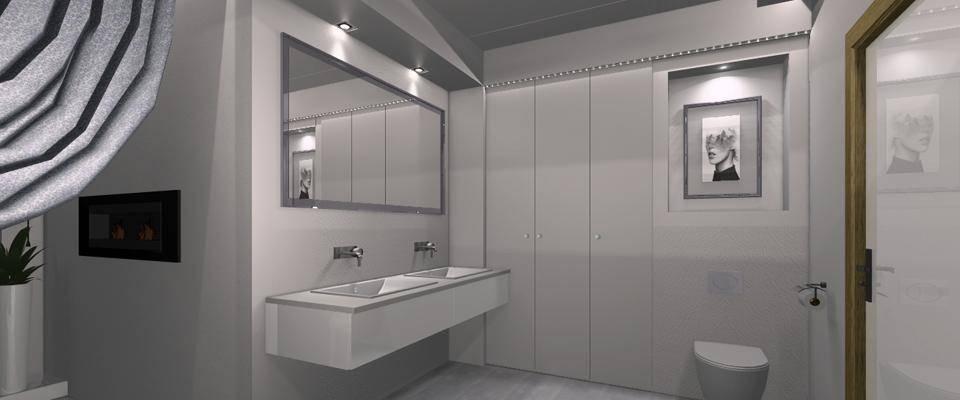 Nowoczesna łazienka wodcieniach szarości